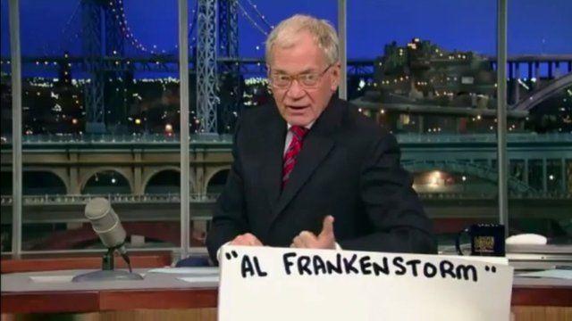 David Letterman on set