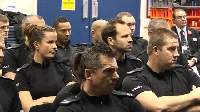 Police officers being trained