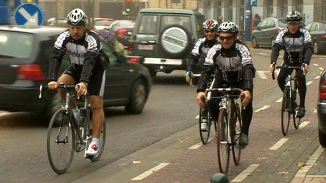 Cyclists in Wevelgem, Belgium