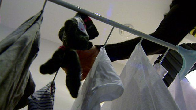 Clothes drying indoors