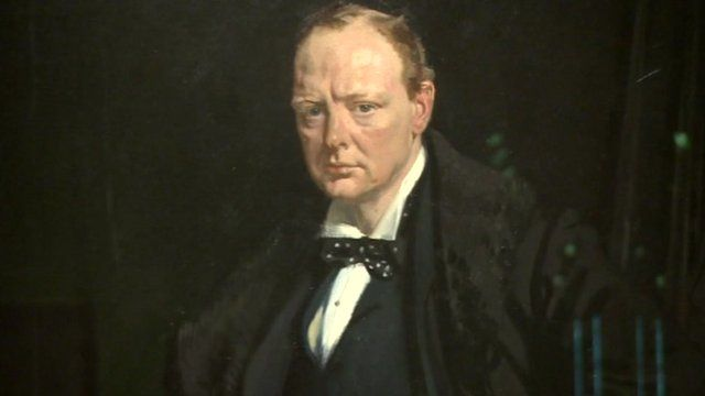 Detail of painting of Churchill