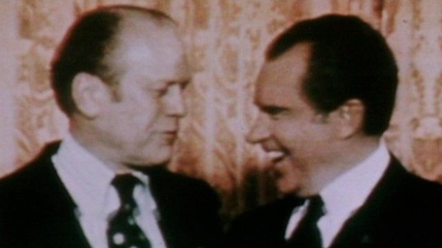 Nixon and Ford speaking with each other
