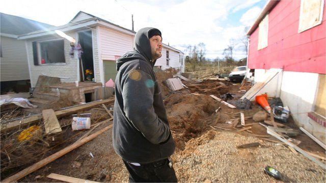 Michael Terrasi outside his damaged home