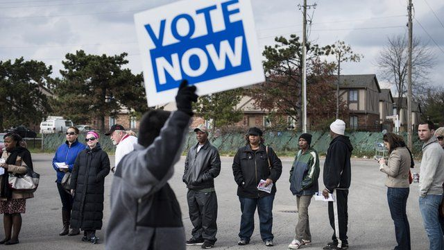People wait in line for early voting in Columbus, Ohio, US