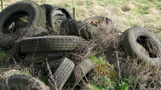 Fly-tipped tyres