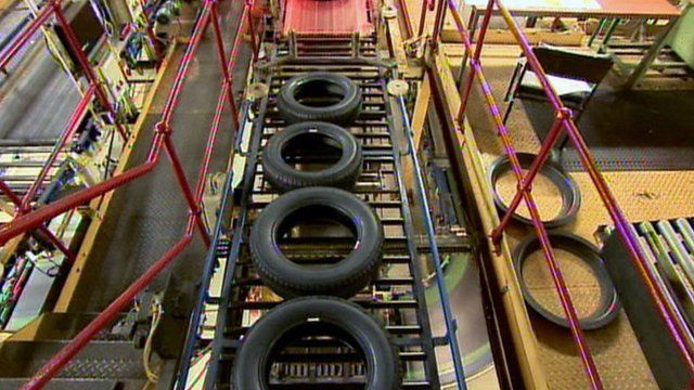 Tyres in a factory