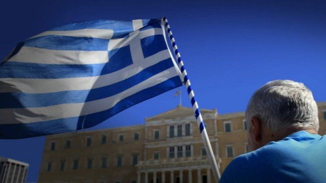 Greek flag and parliament