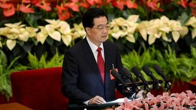 President Hu Jintao delivers his speech at the Great Hall in Beijing on 8 November 2012