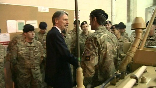 Defence Secretary Philip Hammond with members of the Territorial Army