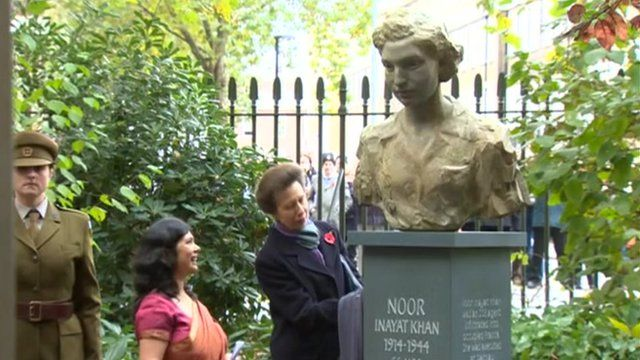 The Princess Royal unveils the sculpture of Noor Inayat Khan