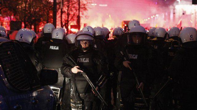 Riot police in Warsaw
