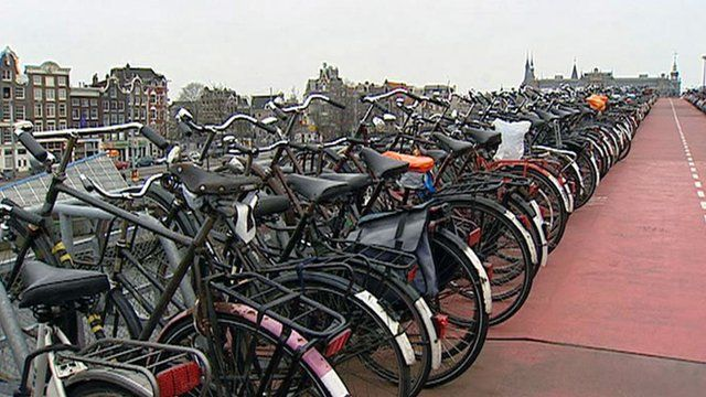 Bicycles in a row in the Netherlands
