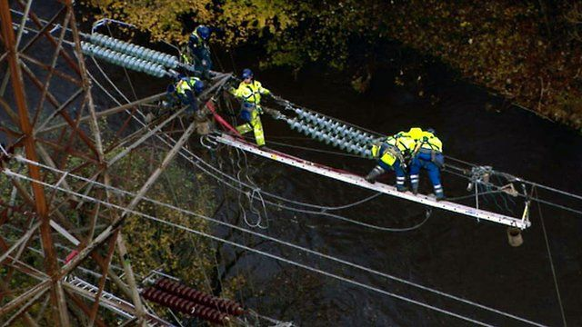 Engineers working at power lines