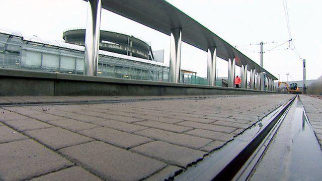 Tram stop at Edinburgh Airport