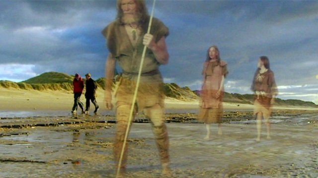 Lunt Meadows with Mesolithic reconstruction