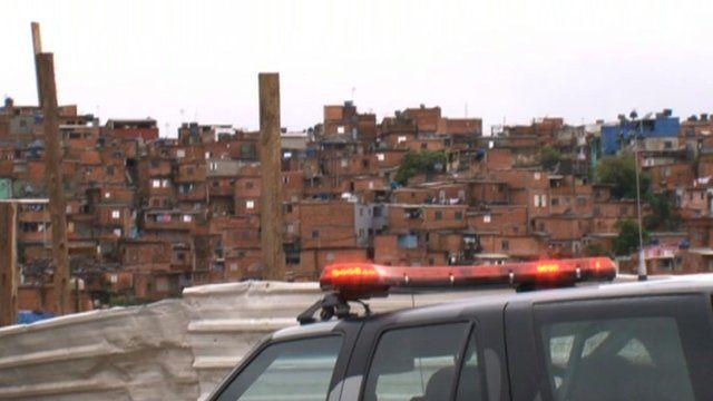 Police car on the streets of Sao Paulo