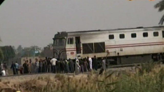Footage from state TV showed the train surrounded by debris following the crash