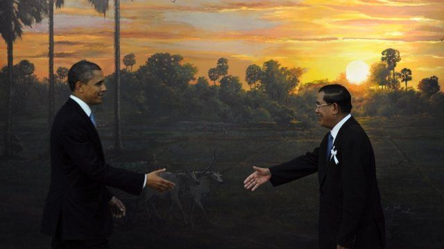 US President Barack Obama and Cambodian Prime Minister Hun Sen