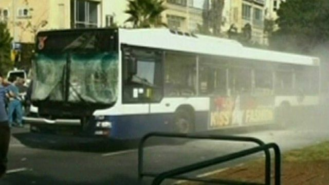 Bus damaged in explosion in Tel Aviv