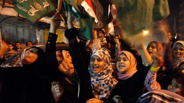Palestinians celebrate in Gaza City