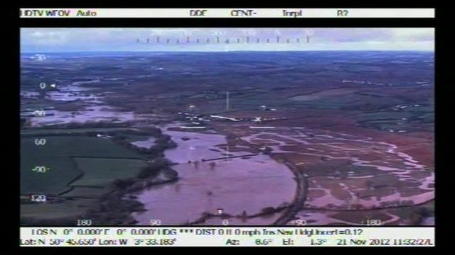 Police helicopter footage of Devon flooding