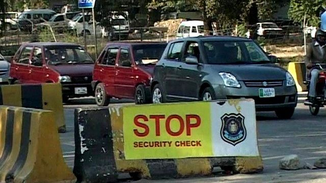 A security check-point in Pakistan