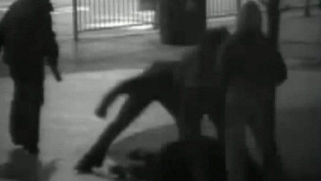 CCTV shows a youth being beaten