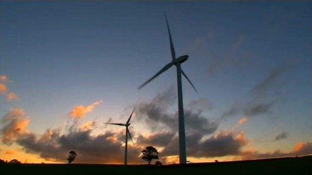 Australian wind farm at dusk