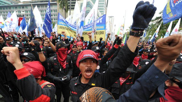 Protesting workers in Indonesia