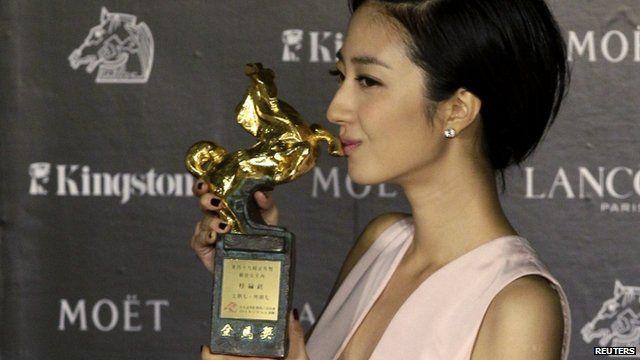 Taiwanese actress Gwei Lun-Mei celebrates winning Best Leading Actress