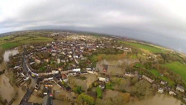 Aerial view of Malmesbury on 25 November 2012