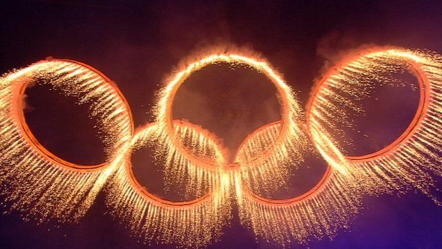 Olympic rings at opening ceremony