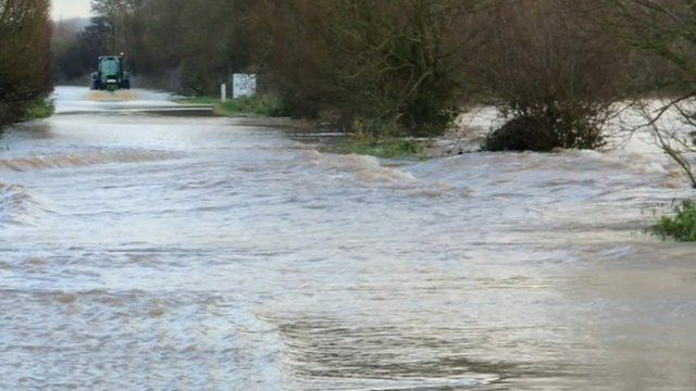 Flooding of the A361 near Burrow Bridge