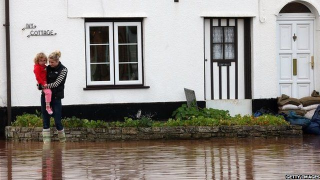 Girl carried through floodwater in Ruishton, Somerset