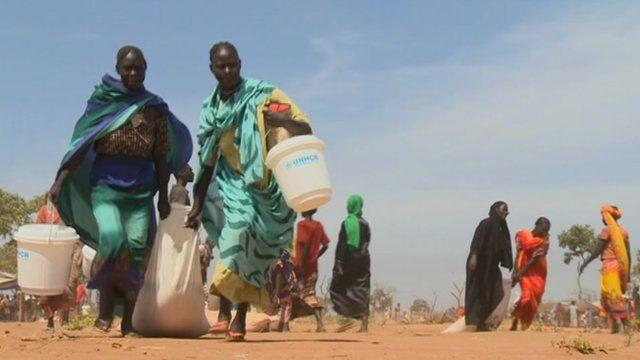 Women in a refugee camp