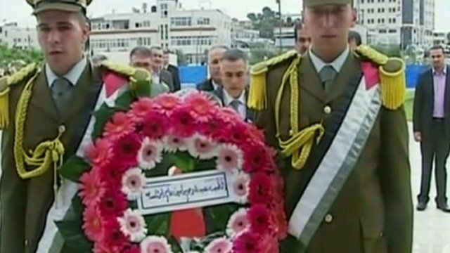 A wreath is laid after Yasser Arafat's tomb was resealed