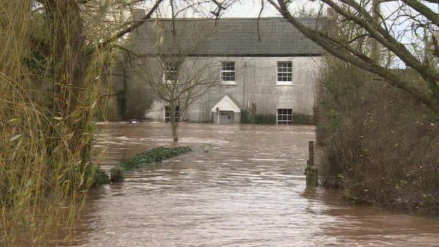 House in Somerset isolated by the floods