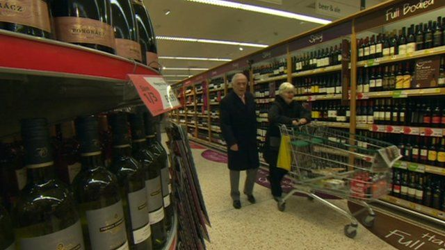 Bottles of wine in supermarket