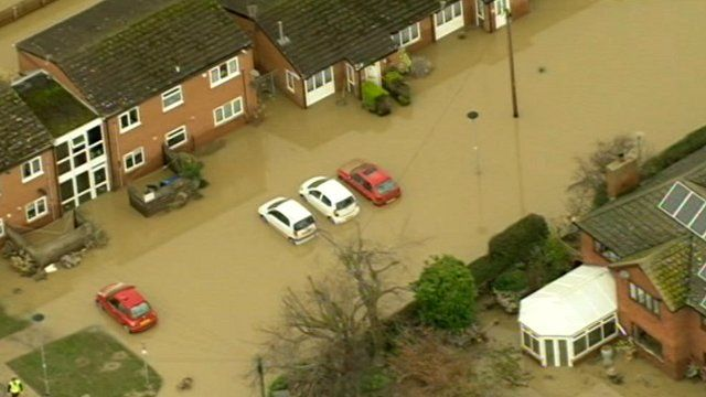 Flood hit St Asaph in north Wales