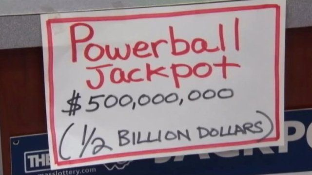 A sign reading Powervall Jackpot $500,000