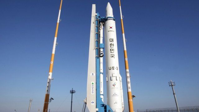 The Korea Space Launch Vehicle-1, South Korea's third space rocket, sits on its launch pad at the Naro Space Centre in Goheung, South Korea