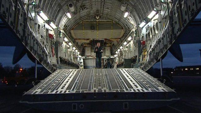 Inside C-17 jet