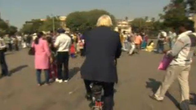 Boris Johnson cycling in India