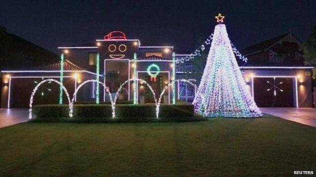 Christmas lights on a house