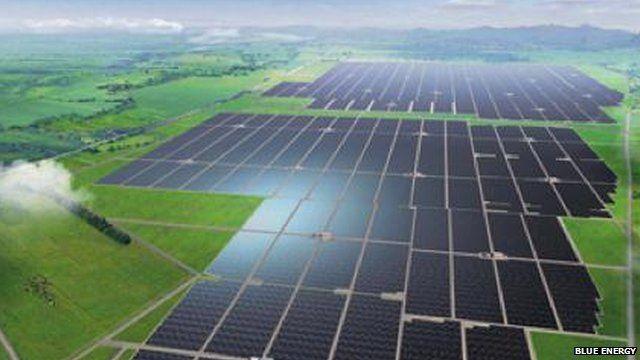 Artist impression of solar power plant in Ghana