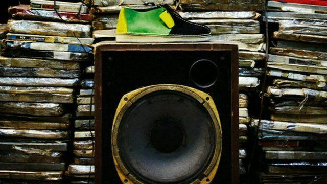 Clarks shoe on speaker
