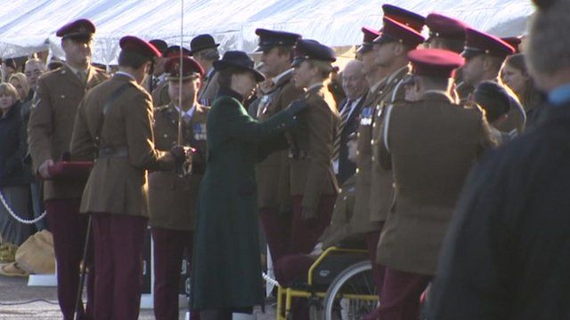 Princess Anne presents medals to Wiltshire soldiers