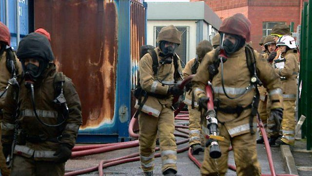 Fire fighters on a training exercise