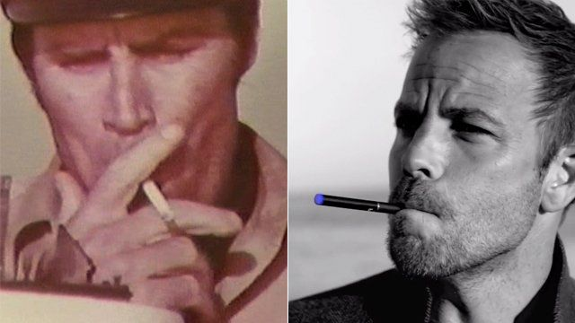Images of smokers from a Newport advert and the blu advert