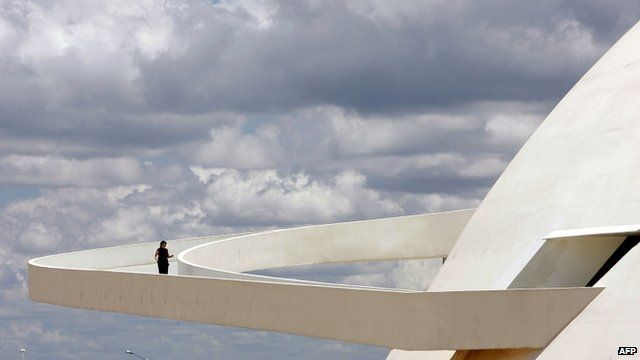 "The ramp of Brasilia""s National Museum, work of Brazilian architect Oscar Niemeyer"
